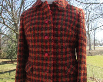 Vintage DONEGAL Tweed Blazer Sports Coat Jacket, Red and Khaki Donegal Tweed Jacket Size Small Blazer, Classic Tweed Blazer Made in Ireland