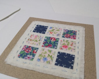 Blue Patchwork hand stitched textile art fabric card - mothers day - birthday - thank you