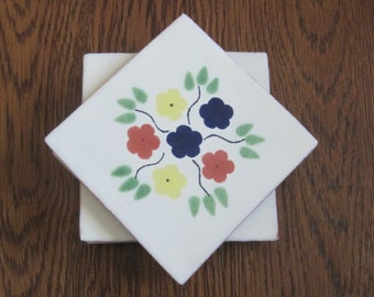Blue Yellow Flower Mexican Folk Art Tile Drink Coasters