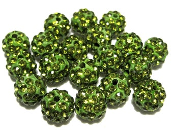 10pcs Olive Green Polymer Clay Rhinestone Beads Pave Disco Ball Beads - Grade A 10mm