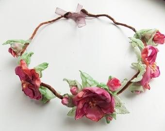Bridal Headband, Wedding Headband, Wedding Hair Accessories, Fabric Flower Hairpiece, Headpiece Headband, Festival Roses, Bridal Headband