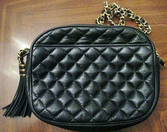 Vintage 1980's Black Quilted Shoulder Bag