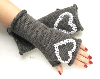 Knitted stitched fingerless gloves, Finger-less,Fingerless knitted gloves mittens,Kint arm Warmers, CHRISTMAS Gift for her, Wrist warmers