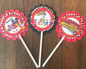 12 Personalized Mickey Mouse Roadster Racer Cupcake Topper, Food Pick or Party Decoration