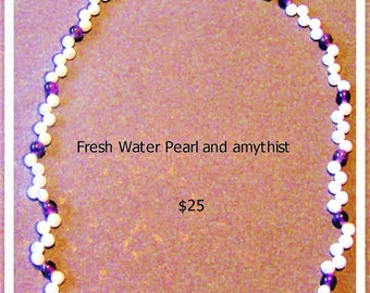Fresh water pearls with beautiful amythist beads.