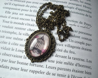 Cabochon glass Bird Cage necklace
