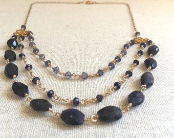 Iolite gemstone gold multi strand statement necklace