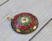Handmade Tibetan Round Pendant - Coral Turquoise and Brass Inlay - Floral Pattern - Focal Pendant - Large Round - Ethnic - Tibetan Spiritual