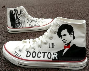 Doctor Who painted shoes painted 11th dortor and weeping angel