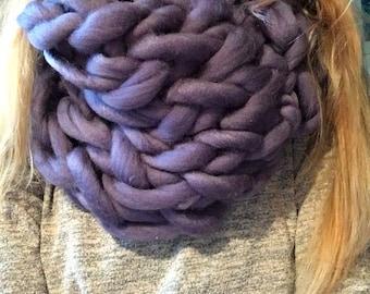 Chunky wool cowl armknitted giant purple blue sky hippy fashion