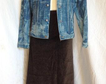 Vintage, long skirt, Velvet brown / chocolate, Naf Naf, T 36 / 38.