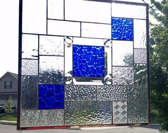 Jeweled Blue Cobblestone Stained Glass Panel *** Ready to Ship ***