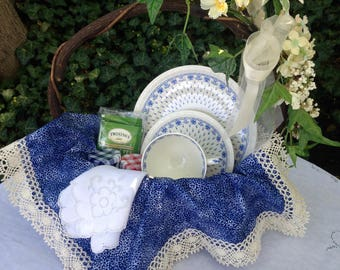 Tea gift basket with vintage trio in blue and white Spode, ermine pattern.  A charming gift for that special person in your life
