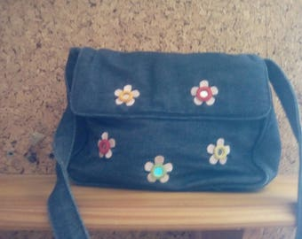 Vintage and adorable embroidered jean bag