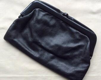 Vintage 80s black leather clutch bag, Italian black leather purse, 1980s purse.