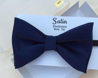 Vintage navy satin bow tie,  boxed.