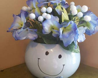 Silk Floral Arrangement, Faux Flowers, Blue Floral, Get Well Gift, Cheery Flowers, Happiness, Smiley Face, Fake Flowers, Smile Decor