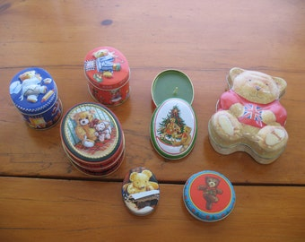 Seven Cute Little Teddy Themed Tins