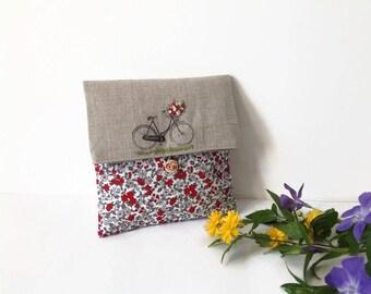 Clutch Bag, Fabric Cosmetic Bag, Printed Bicycle Clutch Bag, Make Up Bag , Clutch Purse, Country  clutch , Red Clutch Bag, Bridesmaid Clutch