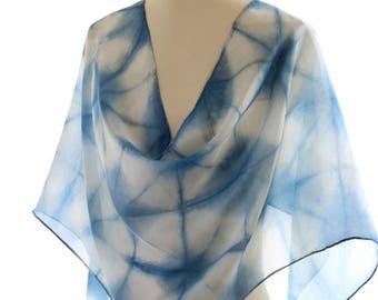shibori silk scarf indigo itajime shibori shawl, organic indigo scarf eco dyed, printed blue white silk scarf, wedding shawl eco gift