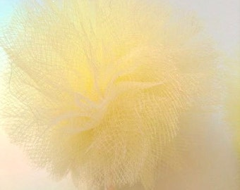Yellow Tulle Poms-Pale Yellow Poms- Tulle Poms- Pom Poms