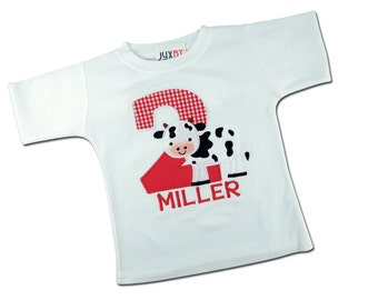 Boy's Farm Birthday Shirt with Cow, Gingham Number and Name