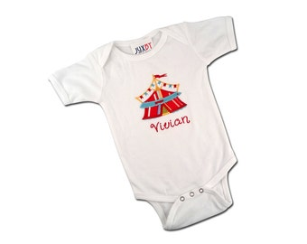 Baby Girl or Boy Circus Tent Bodysuit with Embroidered Name