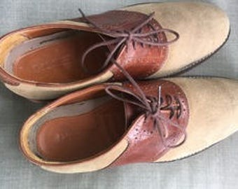 REDUCED! Men's David Spencer two toned brown leather /tan suede oxford dress shoes 9 Medium