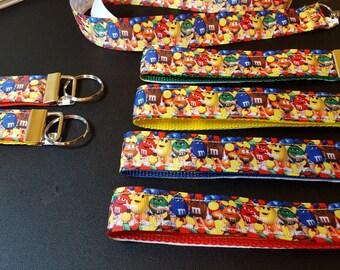 key fob, wristlet, keychain, lanyard - multicolored M&Ms - M2229