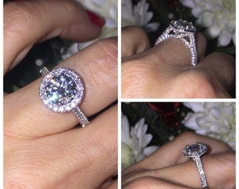 Moissanite Diamond Halo Engagement Ring 1.50ct Round Forever One  .80ct Natural Diamonds Vintage Style 18k White Gold Pristine Custom Ring