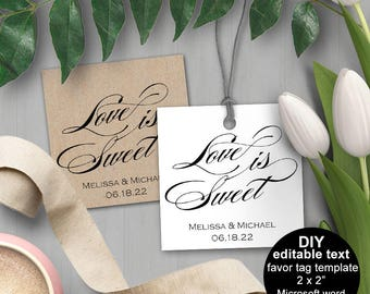 Love is sweet tags, Favor tags wedding| Wedding favor tags, Favor tags bridal shower, DIY, printable