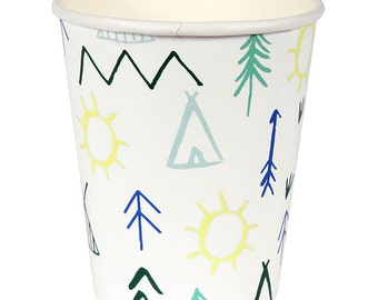 Let's Explore Cup, Camping Party Cups (12), Meri Meri Paper Cup, Wilderness Party, Outdoor Fun, Camp Themed Party, Explorer, Boy Birthday