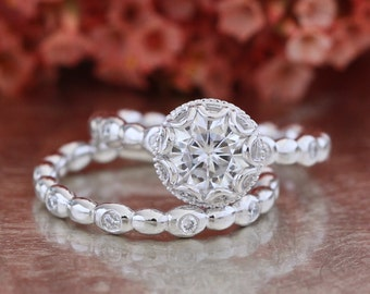 Forever One Moissanite Floral Engagement Ring and Pebble Diamond Wedding Band Bridal Set in 14k White Gold 7mm Round Cut Ring Set