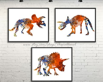 Kids print nursery dinosaur wall art dinosaur wall decor blue orange dinosaurs posters, watercolor set of 3 prints - H232ABC