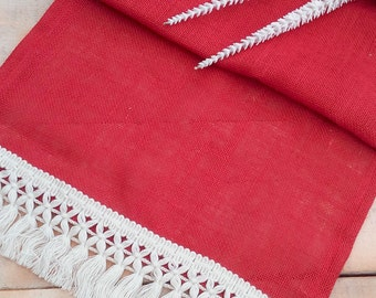 Red Burlap Runner  - Christmas Runner - Red Runner - Rustic Runner - Rustic Table Runner - Holiday Runner - Home Decor