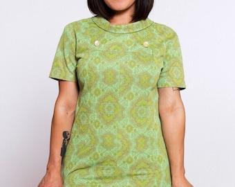 VTG 60's Style Mod Green GOGO Mini Dress