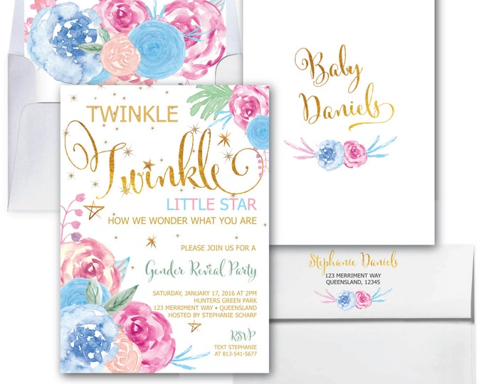 Twinkle Twinkle Gender Reveal Invitation // Little Star // Gender Reveal Party //He or She // Gold // Floral // SAVANNAH COLLECTION