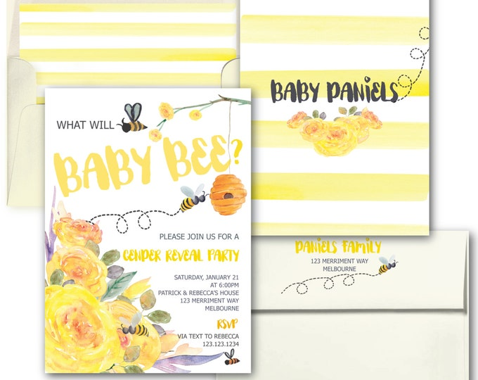 Bee Gender Reveal Invitation // Yellow Gender Reveal Invitation // He or She invitation // Floral // Watercolor // MELBOURNE COLLECTION
