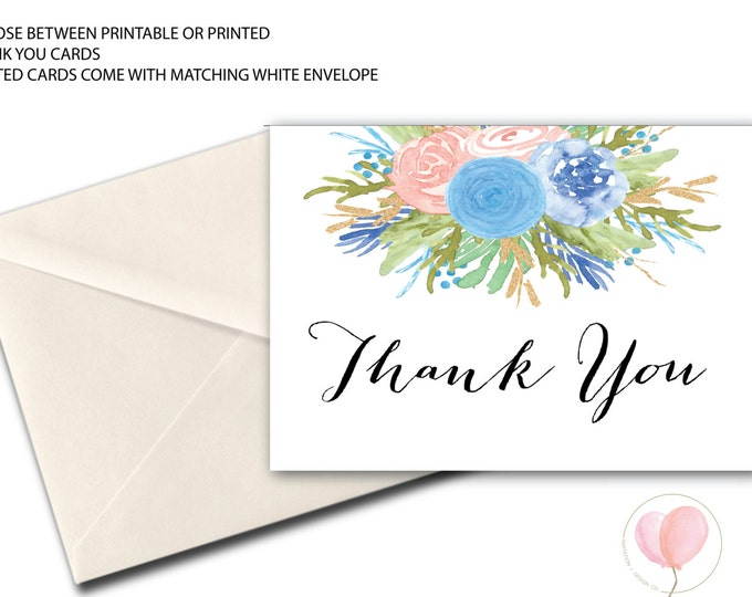 Pink and Blue Thank You Card // Folded Thank You // blush // flowers // Watercolor // Printed // RALEIGH COLLECTION