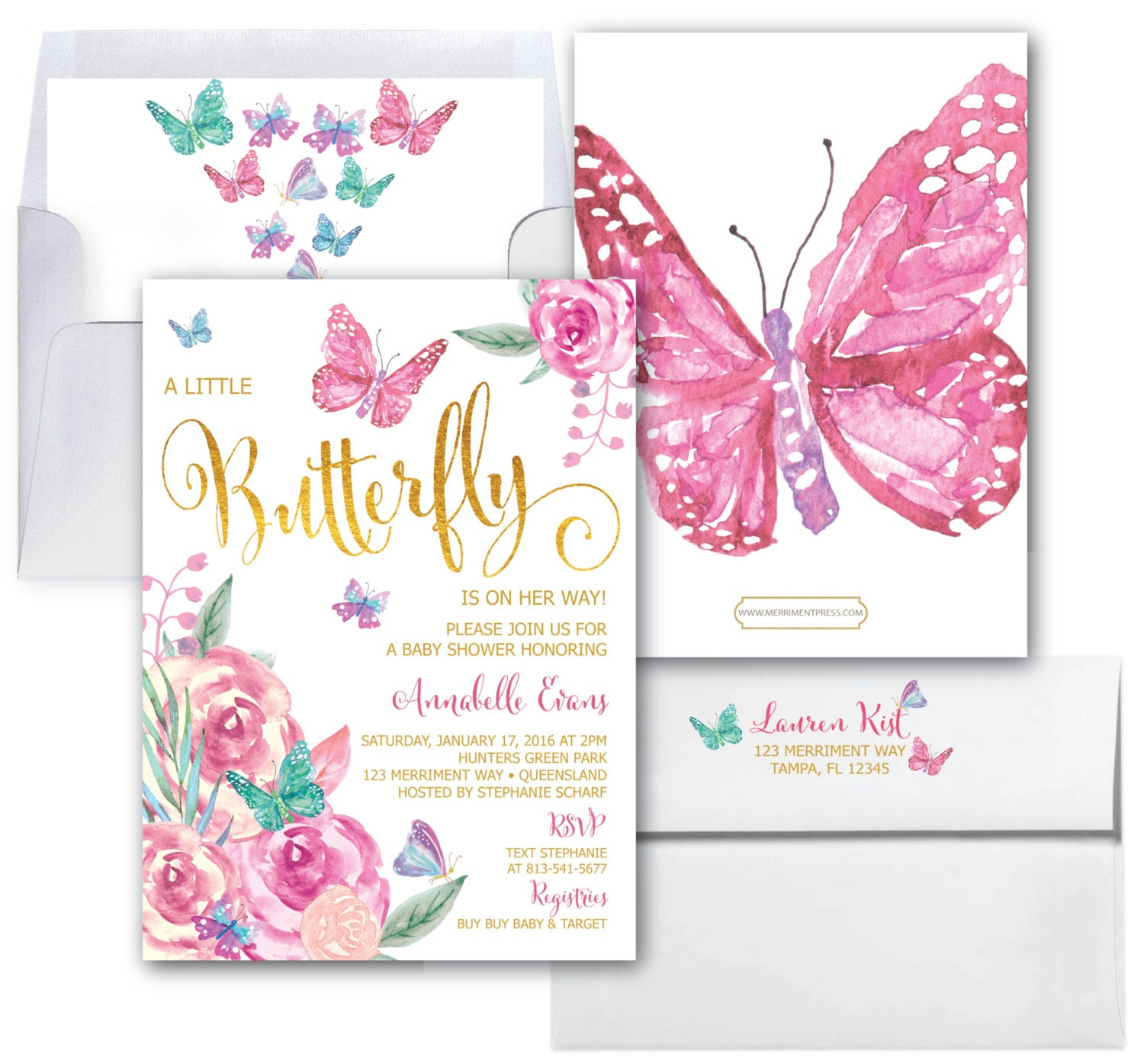 Butterfly Baby Shower Invitations // Butterflies Invitation ...