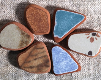 6 pieces / Italian genuine Sea Pottery for collection, jewelry making or mosaic (sp-0006-6)