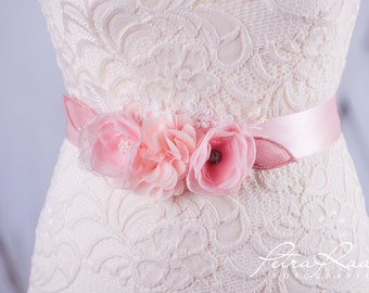 Bridal belt bridal gown belts lace wedding dress pink G12