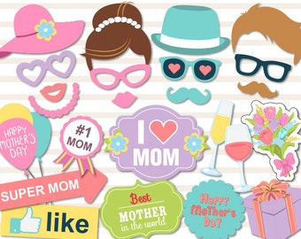 Instant Download Mother's Day Photo Booth Props Printable Love Mom Party Photobooth Prop Happy Mother's Day Party Photobooth Props 0180