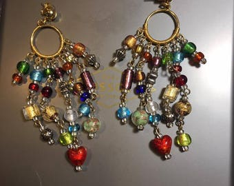 Fabulous beautiful beaded dangly earrings with multicolored beads on gold posts about 3 inches long.
