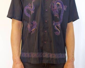 Dragon Vintage Shirt Chinese Japan 90's unisex Black Purple