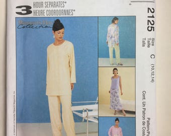 McCall's 2125, 3 Hour Separates, Misses' Shirt, Top, Pull-on Pants, and, Bias Skirt, Petite-Able,  Pattern Sizes 10.12.14 uncut