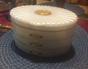 Vintage Mother Of Pearl Oval Jewelry Box