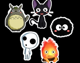 Studio Ghibli Stickers - Studio Ghibli Chibi Stickers - Miyazaki Stickers - Totoro, Calcifer, Jiji, Kodama - Buy individually or as a set
