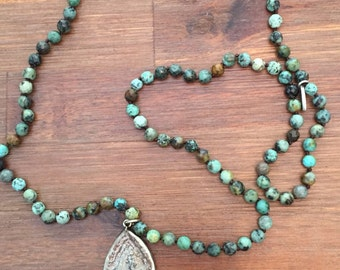 African Turquoise Antique Carved Stone Buddha Mala Beads Necklace for Him or Her
