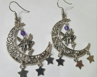 Fairy and crescent moon inspired earrings, fantasy earrings
